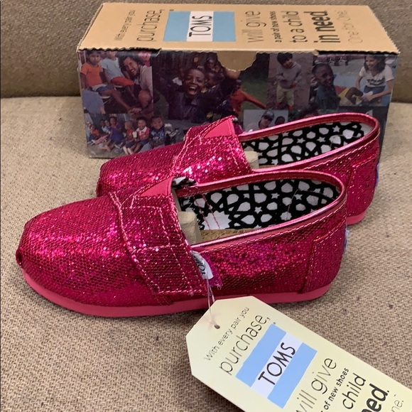 d485073241 Toms Shoes | Glitter Hot Pink Girls Size 9 | Poshmark